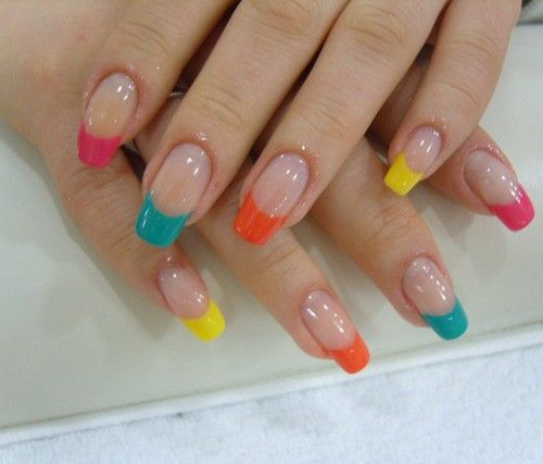 Nail Designs For Tips With Different Solid Colors And Transparent