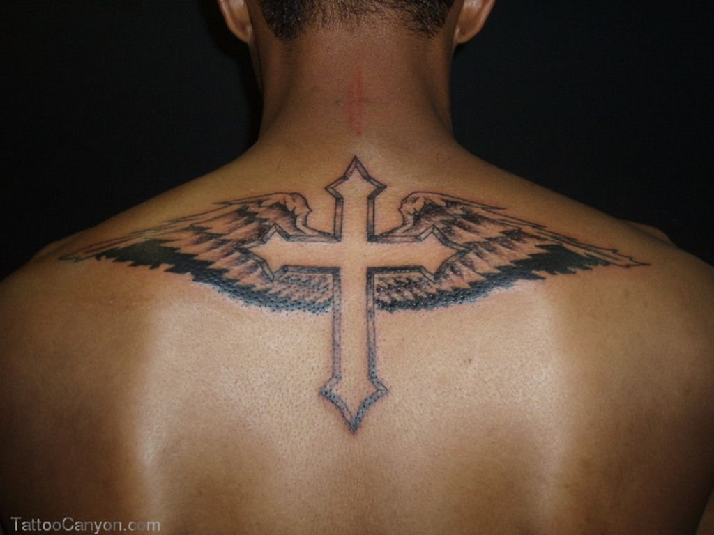 73576c68f39d4 Cross Tattoos For Men with Wings on Back | Body Canvas | Cross ...