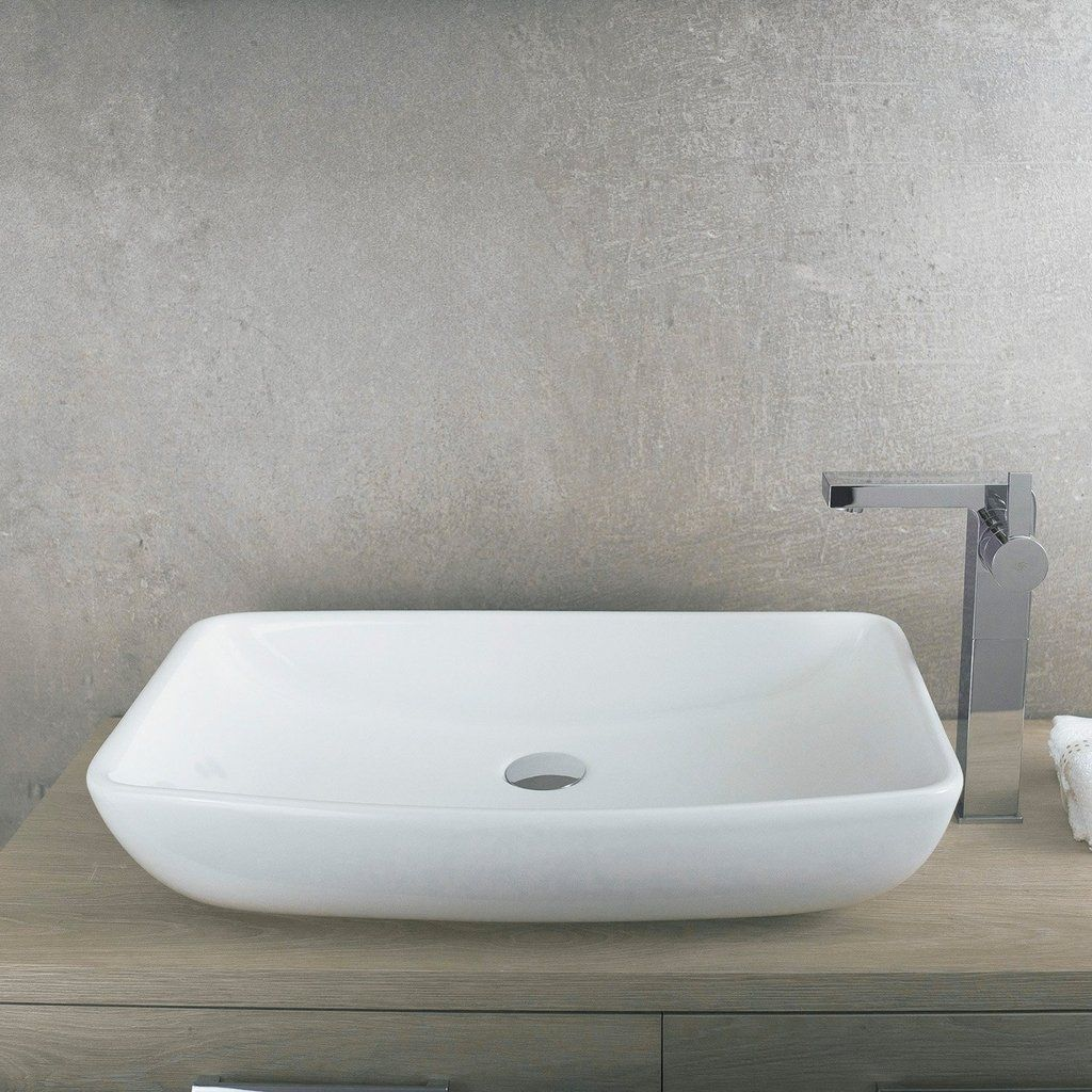 Dax Ceramic Rectangle Single Bowl Bathroom Vessel Sink White Finish 23 13 16 X 15 1 8 X 2 5 16 Inches Bsn 285i Vessel Sink Bathroom Sink White Vessel Sink