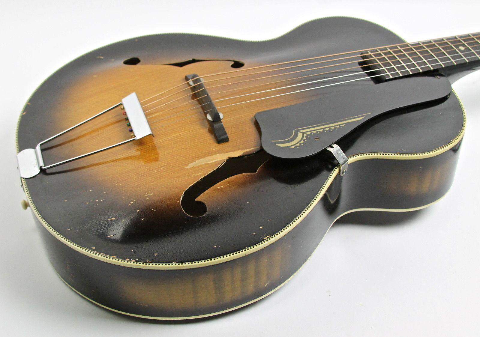 Harmony Broadway H954 1950s Tobacco Sunburst 2 Of 3 Guitar Rack Guitars