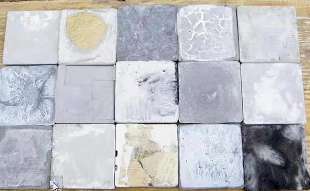 slate tiles interweave beige and pink earth-tones.  grey is a fabulous backdrop for other colors to play.