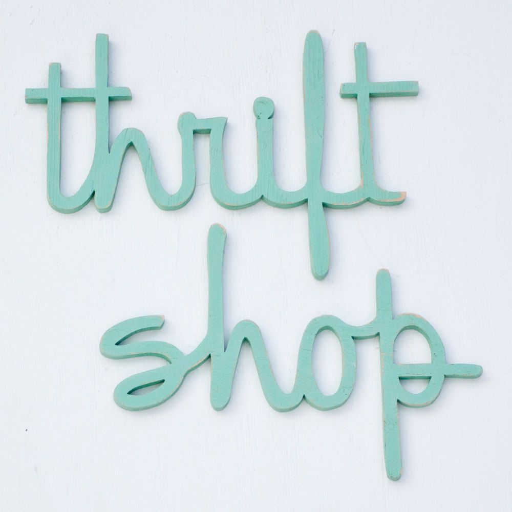 Thrift Shop Signs Made From Recycled Wood In Any Color 65 00 Via Etsy Shop Signs Crafts Thrifting