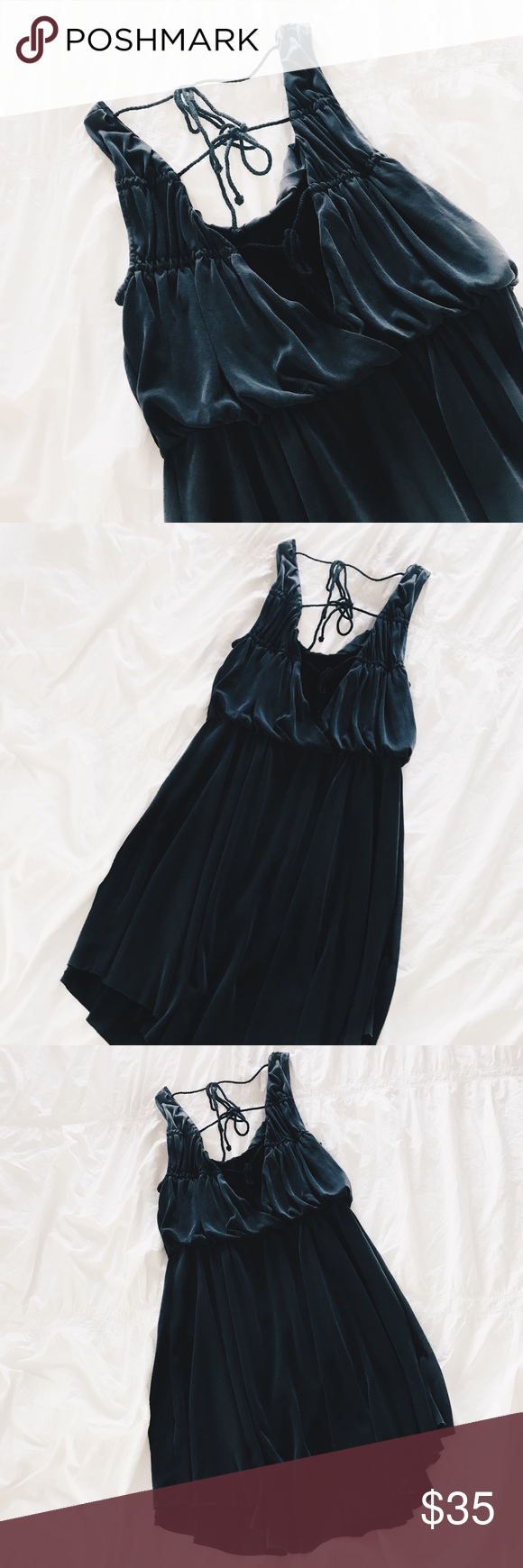 Free people black open back mini dress open back with ties cinched