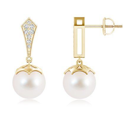 Angara Art Deco Style Golden South Sea Cultured Pearl Earrings TpjH95
