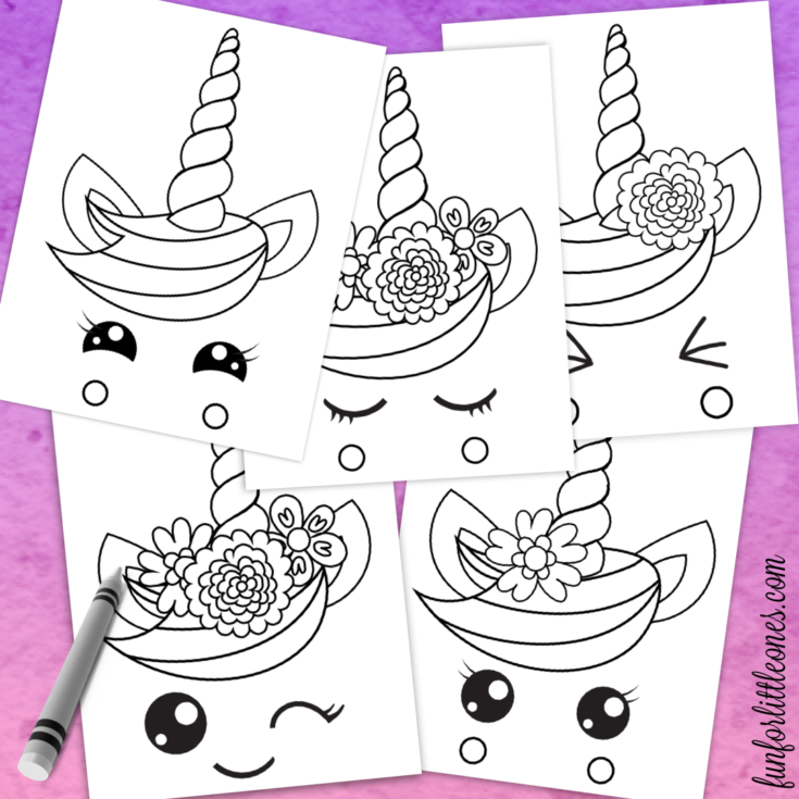 Unicorn Faces Coloring Pages for Kids - Fun for Little ...
