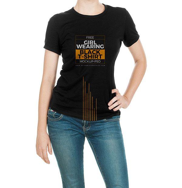 d61f30f8 Free Girl Wearing Black T-Shirt Mock-up Psd | Mockups | Shirt mockup ...