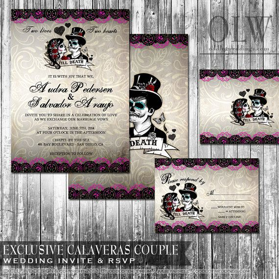 Day Of The Dead Wedding Invitation Set Sugar Skull Wedding Mexican Wedding Calaveras Printable Invitations Dia De Los Muertos Latina Bride