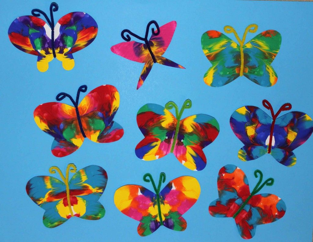 Symmetrical Painted Butterfly Craft | Butterfly crafts ...