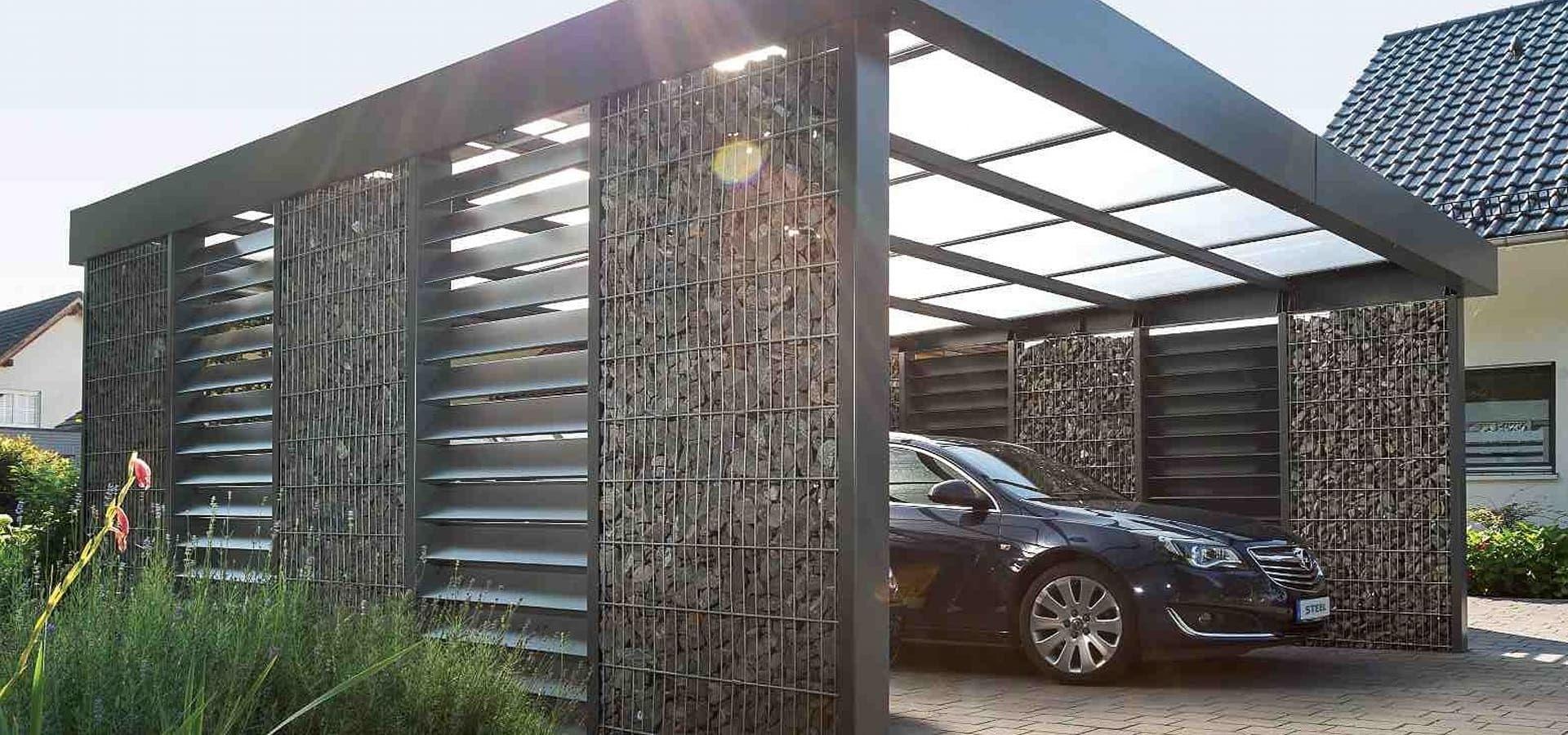 GabionenDoppelcarport von Steelmanufaktur Beyer