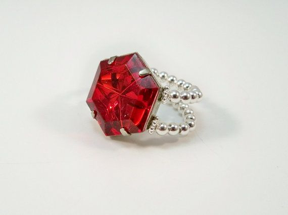 Cocktail Ring Red Rhinestone with Stretch Band by babbleon on Etsy, $5.00
