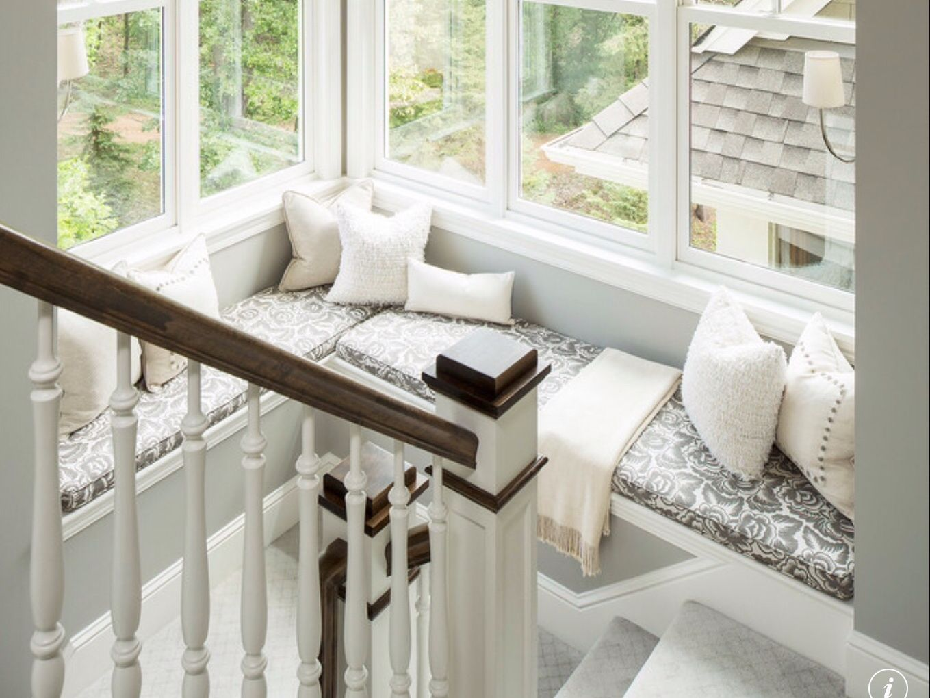 Window nook ideas  would love something like this in the staircase  home decor