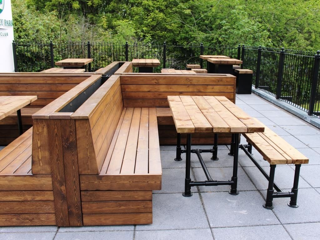 Outdoor Seating Scaffold Tables And Benches At Sherdley Park