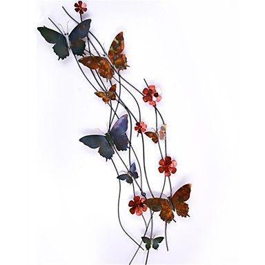 bellabello metal decoração arte da parede parede, estilo contemporâneo, multi-borboleta cor de ferro forjado parede decoração – BRL R$ 512,97