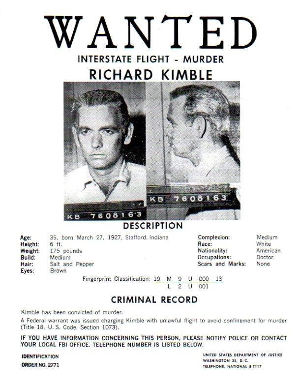 The Fugitive TV Series, Wanted Poster, David Jansen, Very Detailed - criminal wanted poster