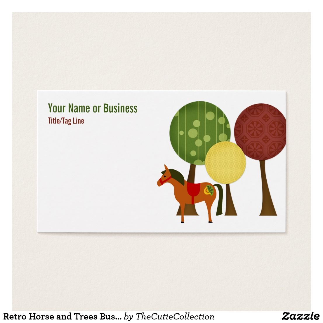Retro horse and trees business card retro