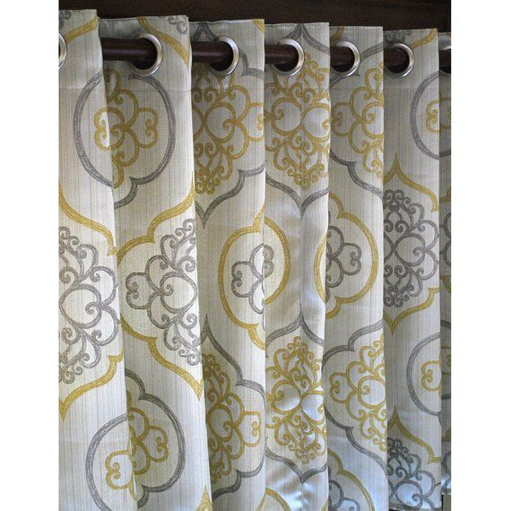 Geometric Light Gold Damask Curtain Panels 52 x96  Grommet Drapes Valence Bedroom Window Treatments is part of bedroom Window Drapes - Geometric Light Gold Damask Curtain Panels 52 x96  Grommet Drapes Valence Bedroom Window Treatments                                                                            This is a beautiful and contemporary combination of Light Gold, Grey, Beige And Pearl fabric  The curtain is a Grommet (Eyelet) style curtain  This luxurious hand crafted curtain will bring life to your bedroom   The curtain does not have lining  Though, I can add the lining on request  Let me know and I will quote you accordingly  The price mentioned on the listing is the per panel price measuring 52'' in width and 96  in height   I can make the curtain in any custom size and color as per your requirement  Convo me for customized orders   Notes 1  The Order Qty can be increased to multiple numbers  Please make a note in your transaction details or send me a message through the Etsy Convo System  2  This design can be customized to the size of your choice  Just drop me a convo with size details  3  The products shipped will be same as shown in the picture  Begin decorating your house with our products!