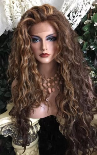 Beautiful Extra Long Curly Ombre Brown W Golden Streaks Lace Front Wig Hair Styles Long Face Hairstyles Lace Front Wigs
