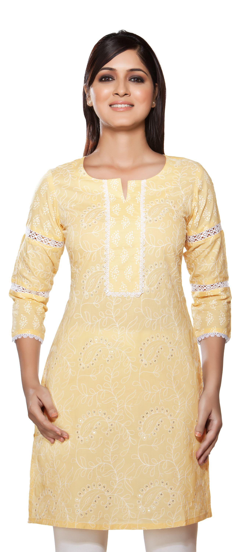 Rangmanch womenus kurta tunic lace u sequins work gunne sax drss