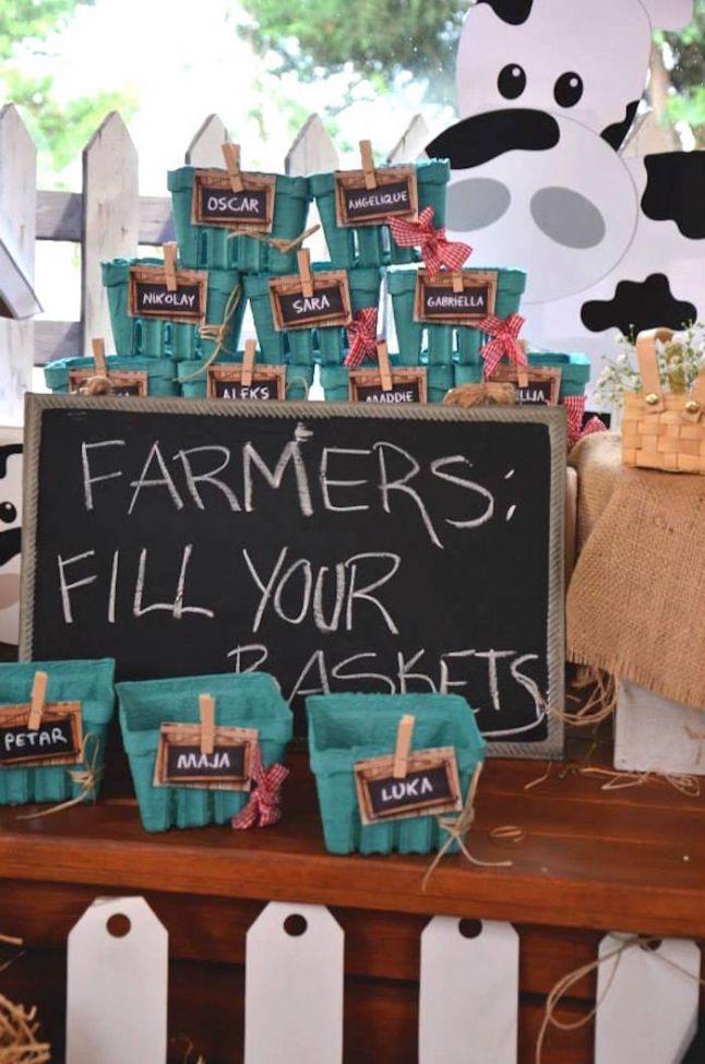 Boys Barnyard Birthday Party Berry Baskets | Farm animals ...