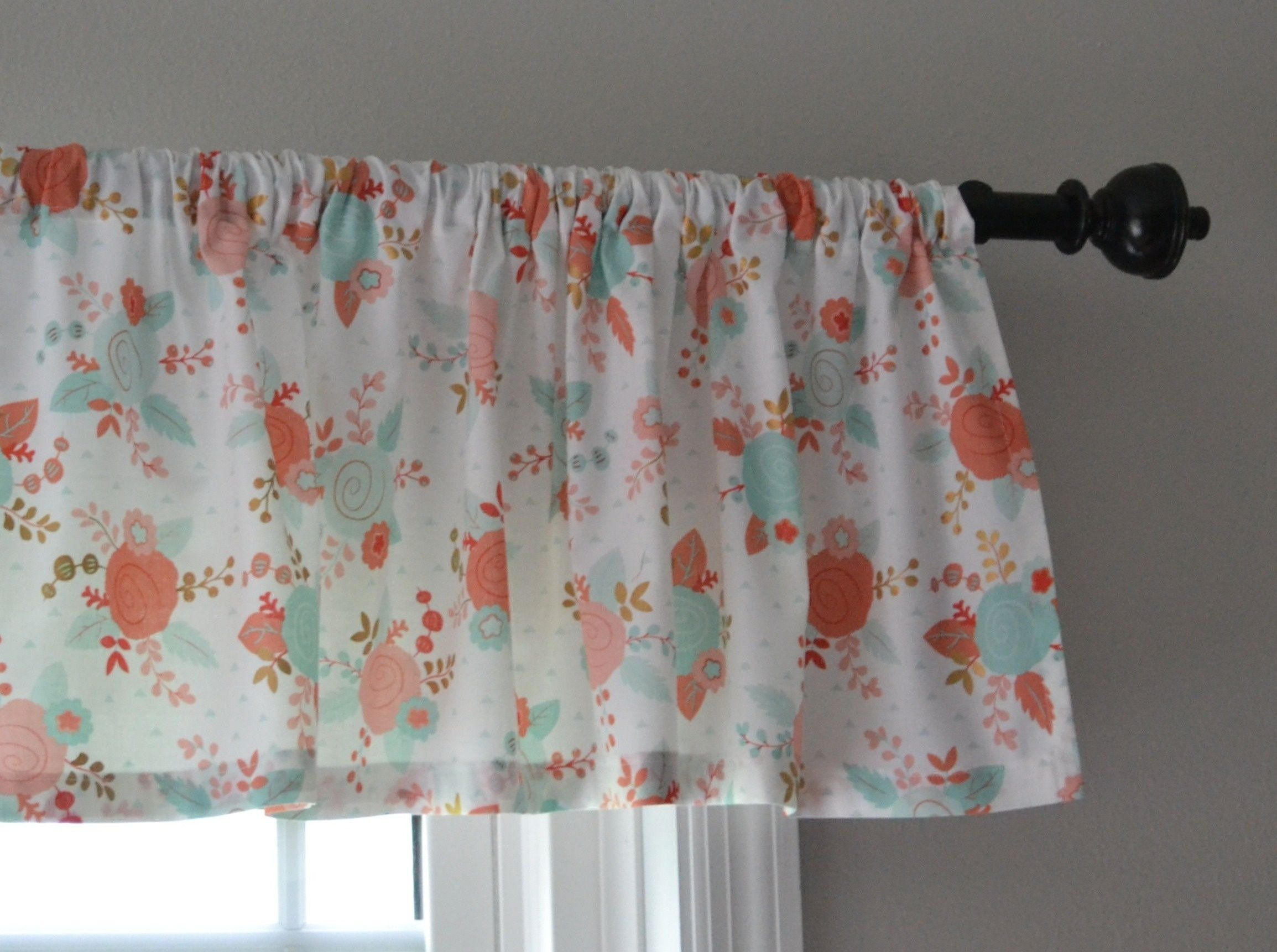 Sweet Coral and Mint Green Valance for Baby Room  Valance, Baby