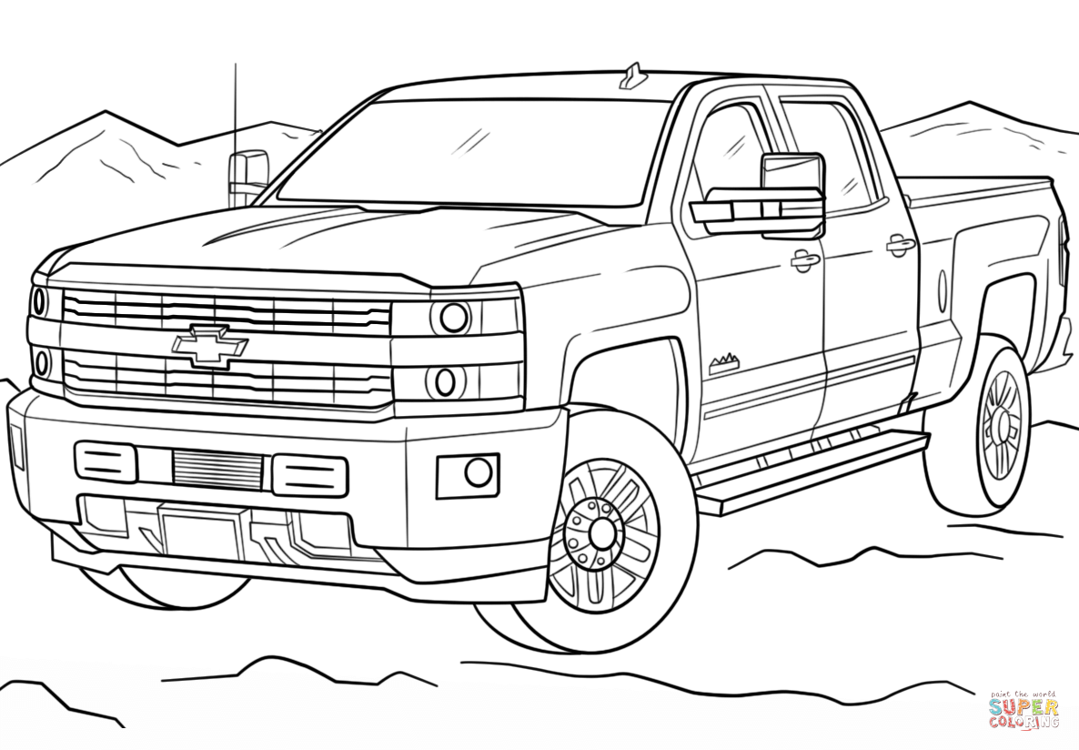 Country Coloring Pages  Truck coloring pages, Cars coloring pages