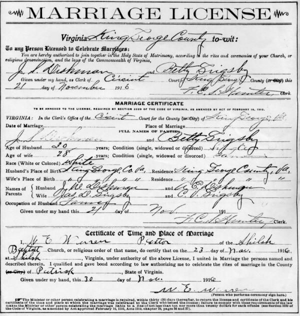 Grandparents Marriage License Family History Pinterest