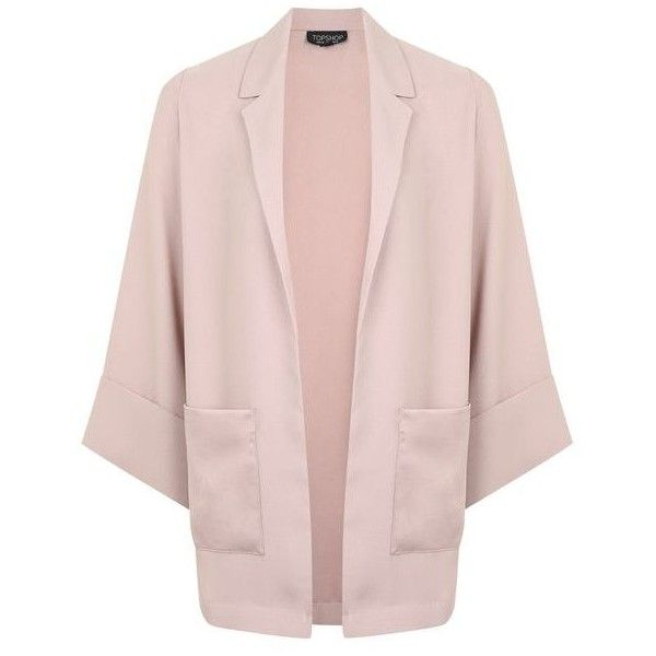TopShop Throw-on Jacket (665 SEK) ❤ liked on Polyvore featuring outerwear, jackets, open front jacket, topshop jackets, pink jacket and collar jacket