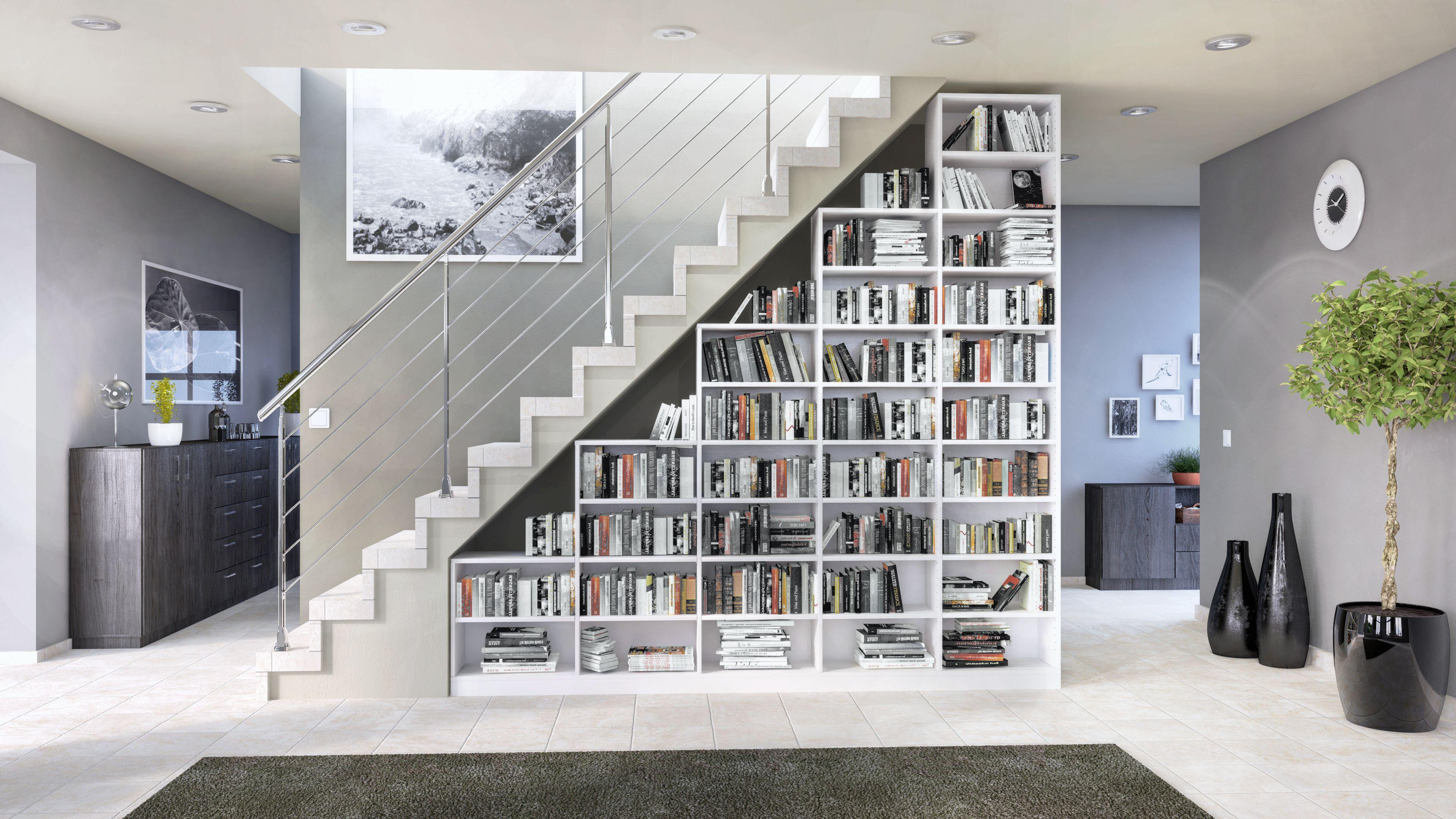 Das Regal Unter Der Treppe Von Deinschrank De Integriert Sich Perfekt In Den Raum Und Schafft Enorm Viel Stauraum Wohnen Regal Weiss Treppen Regal