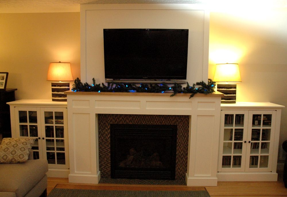 Lovely Craftsman Fireplace With Built In Media Cabinets   Fine Homebuilding