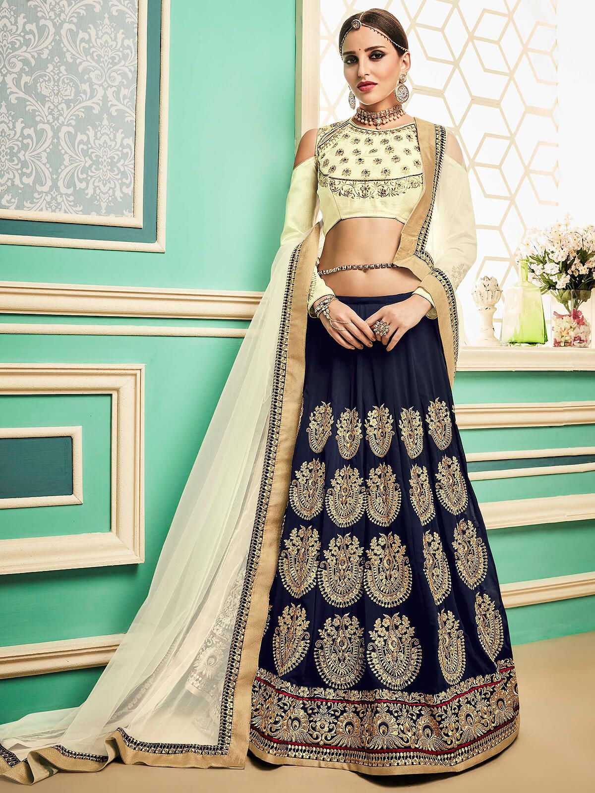 9d29d112924 Captivating off white and navy blue santoon party wear designer lehnega  choli. Having fabric santoon