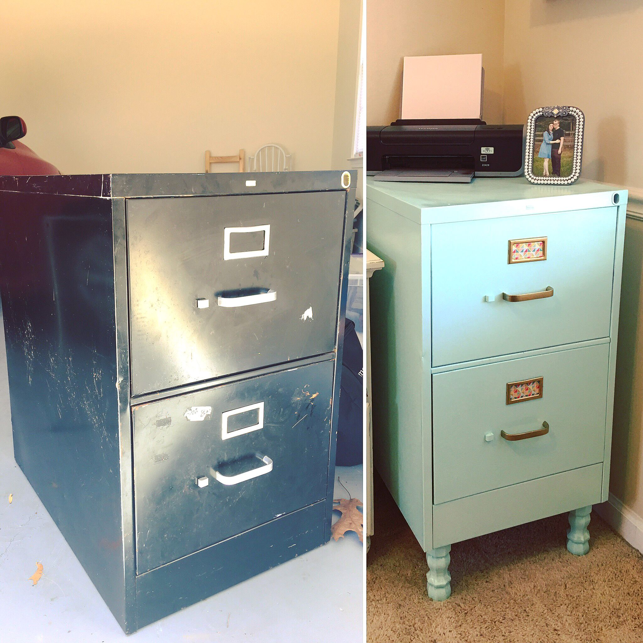 Took an ugly rusty 8 filing cabinet and made it cute