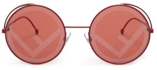 1f73f40f5fa9 Fendi - Fendirama Rounded Frame Metal Sunglasses - Womens - Red ...