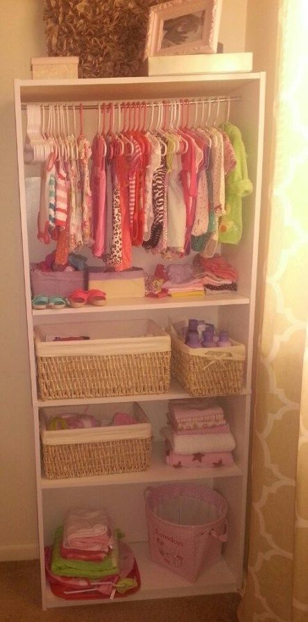 DIY: Bookshelf To Baby Closet In The Infant Nursing/room For Extra Clothes.