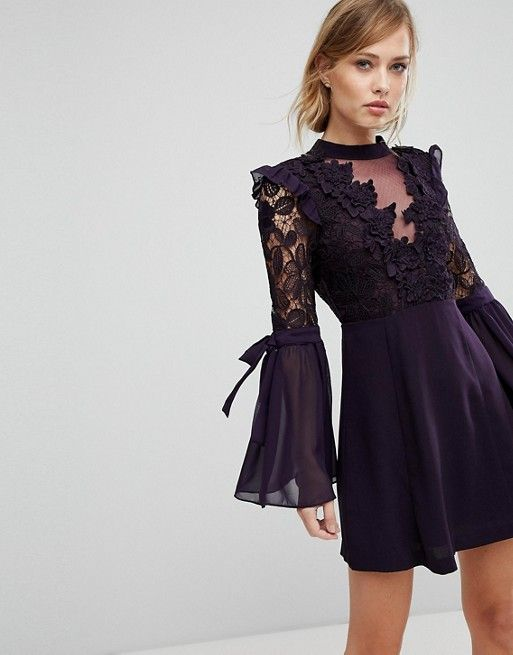 V Neck Sequin Lace Short Sleeved Party Dress In Black #