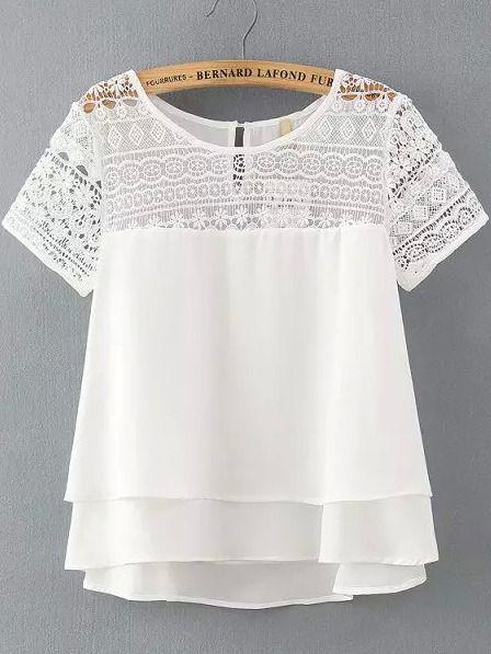 White Lace Short Sleeve Loose Chiffon Blouse
