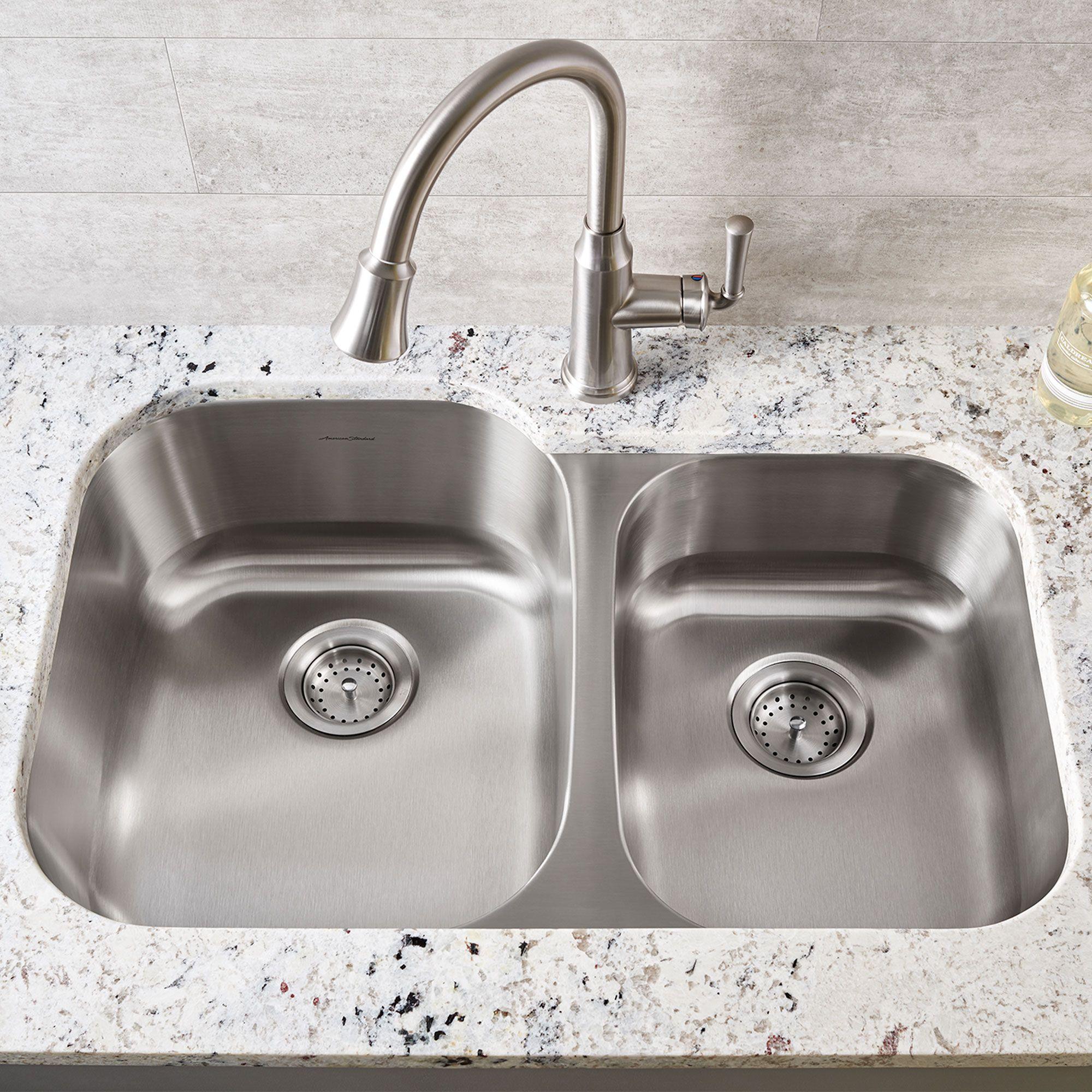 American Standard Portsmouth Stainless Steel Sink Kitchen Sink Beach Cottage Style Double Bowl Kitchen Sink