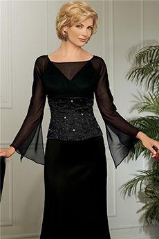 chiffon sheath floor length black dress