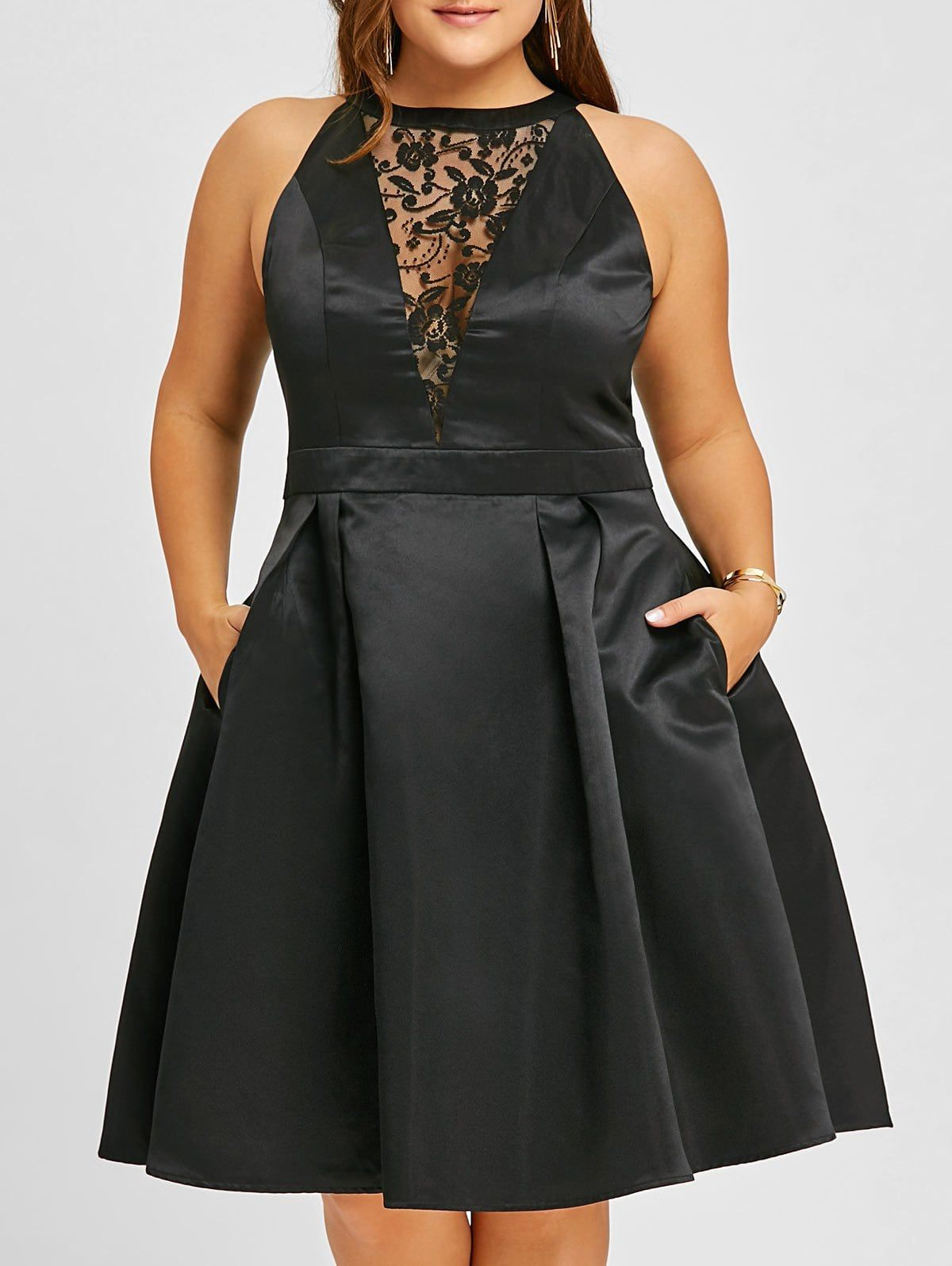 Plus Size Semi Cocktail Lace Insert Swing Dress Sleeveless Swing Dress Lace Dress Black Plus Size Cocktail Dresses