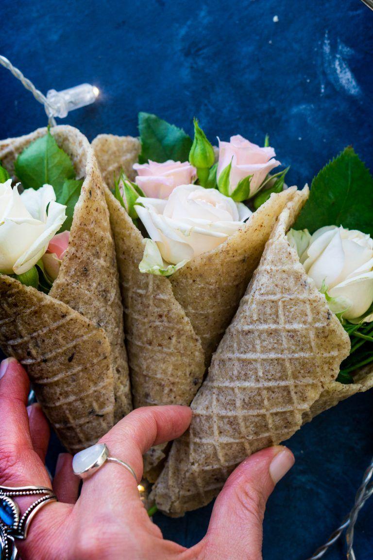 Homemade ice cream cones vegan glutenfree paleo keto