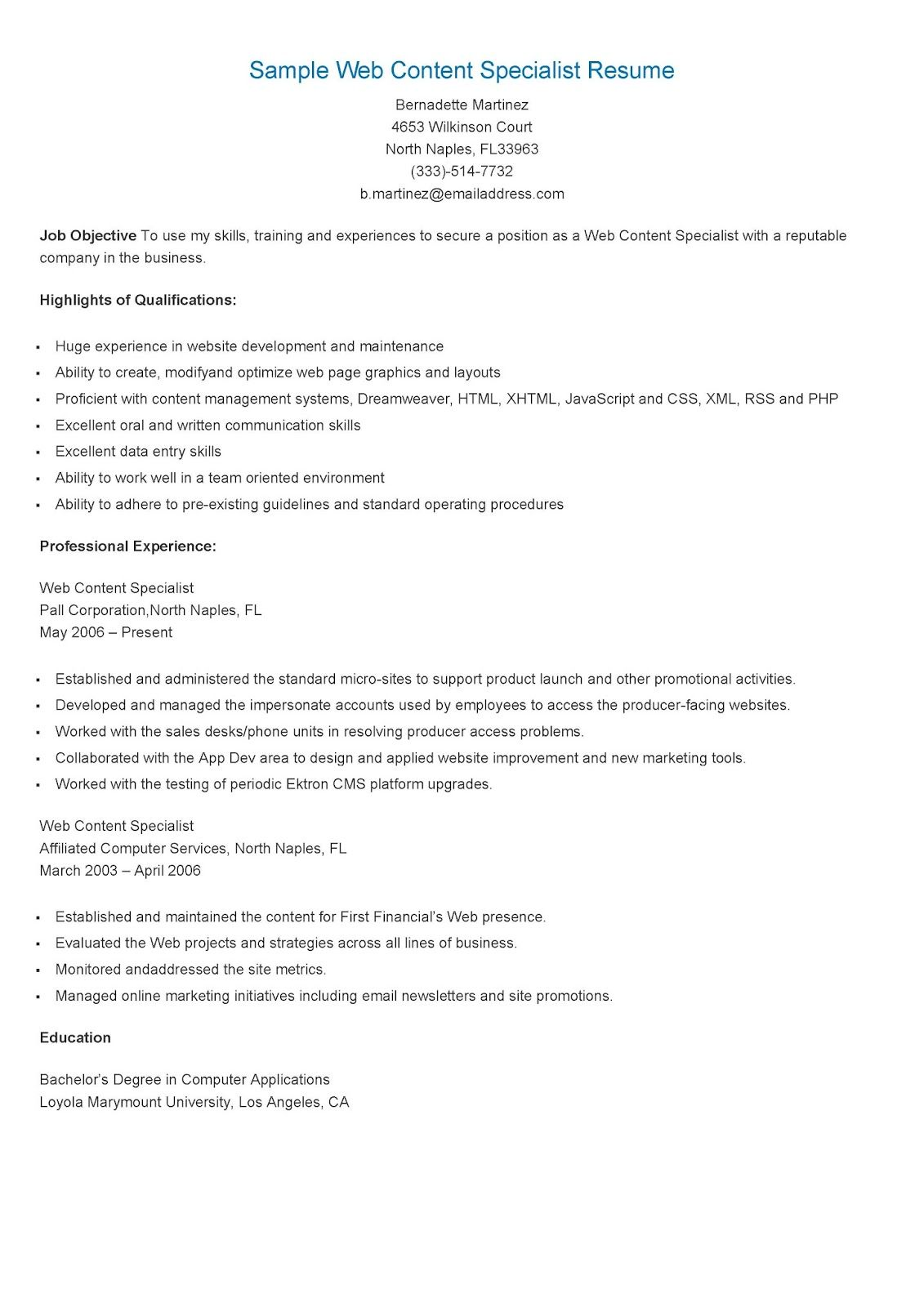 Sample Web Content Specialist Resume Resame Pinterest