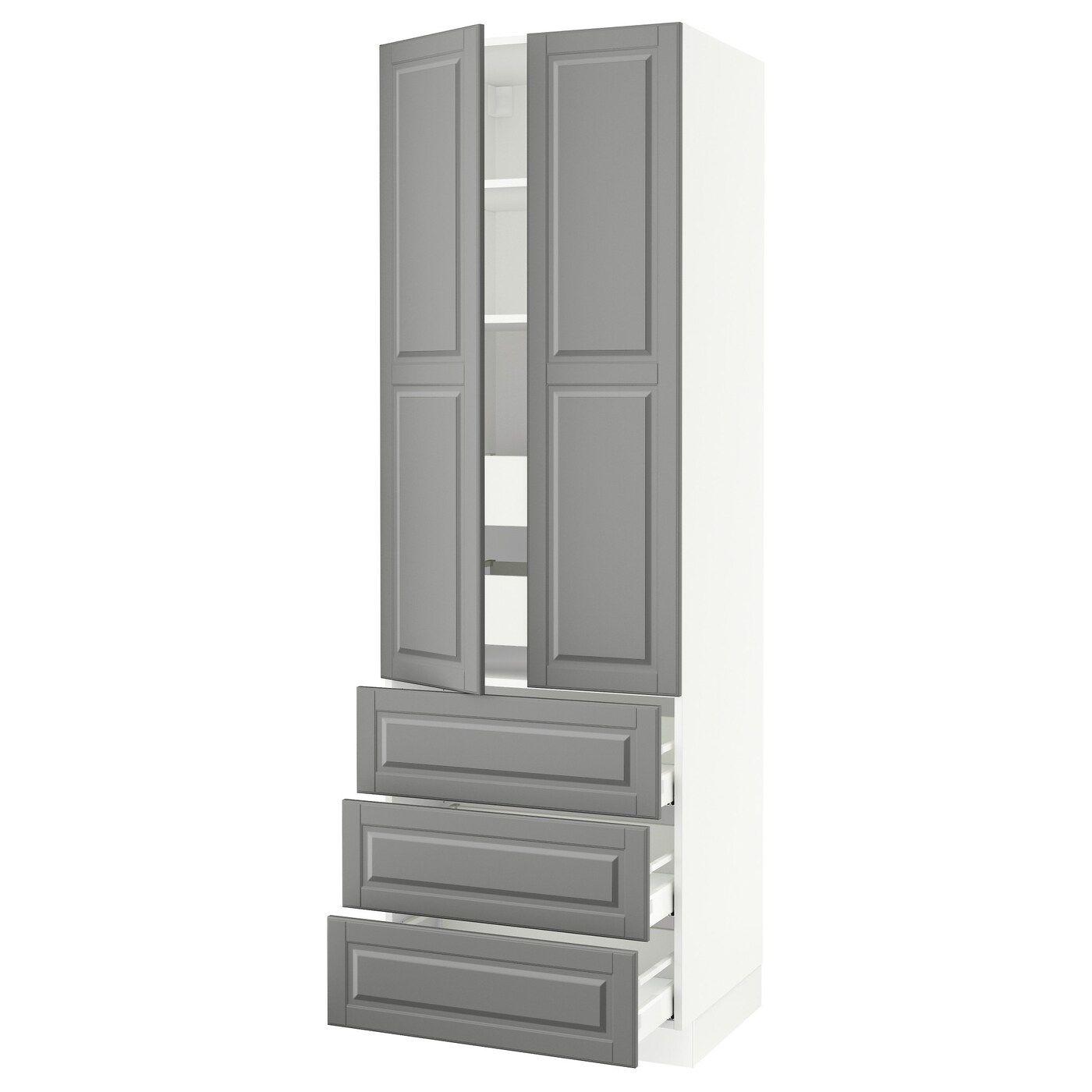 Ikea Sektion Maximera White Bodbyn Gray High Cab W 2 Drs 3