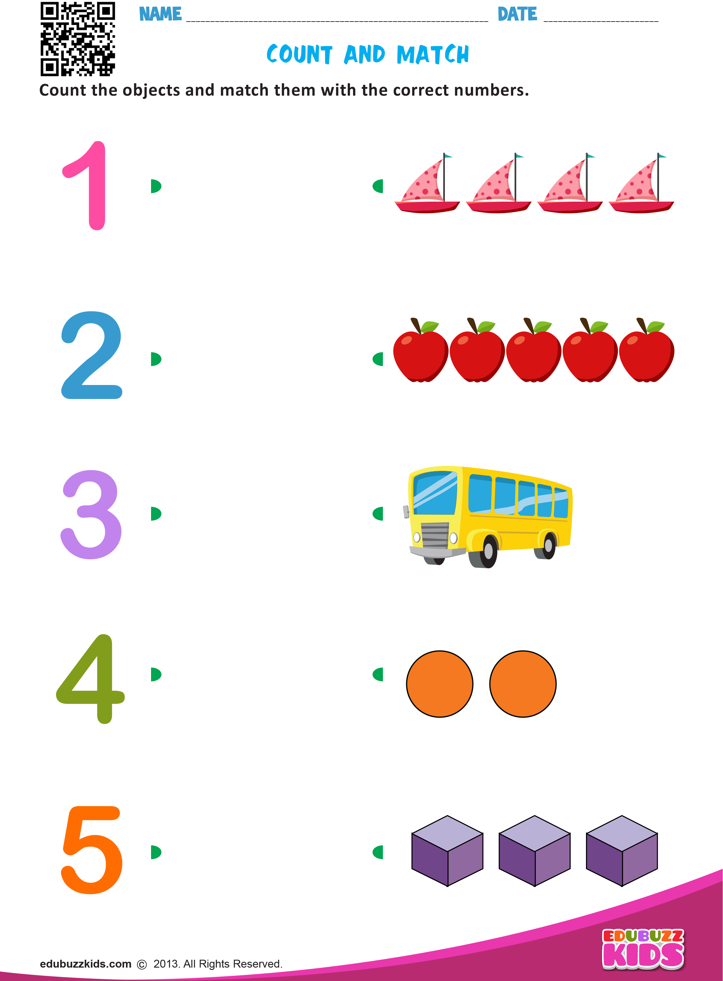 Count And Match Kids Worksheets Preschool Preschool Math Worksheets Preschool Worksheets [ 3366 x 2480 Pixel ]