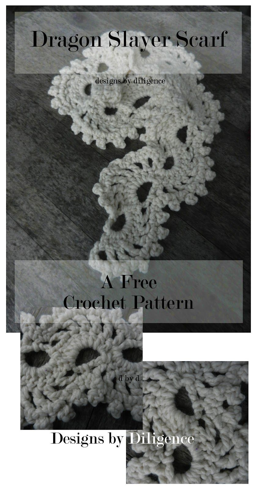 The Dragon Slayer Scarf is a free lace crochet pattern using bulking ...