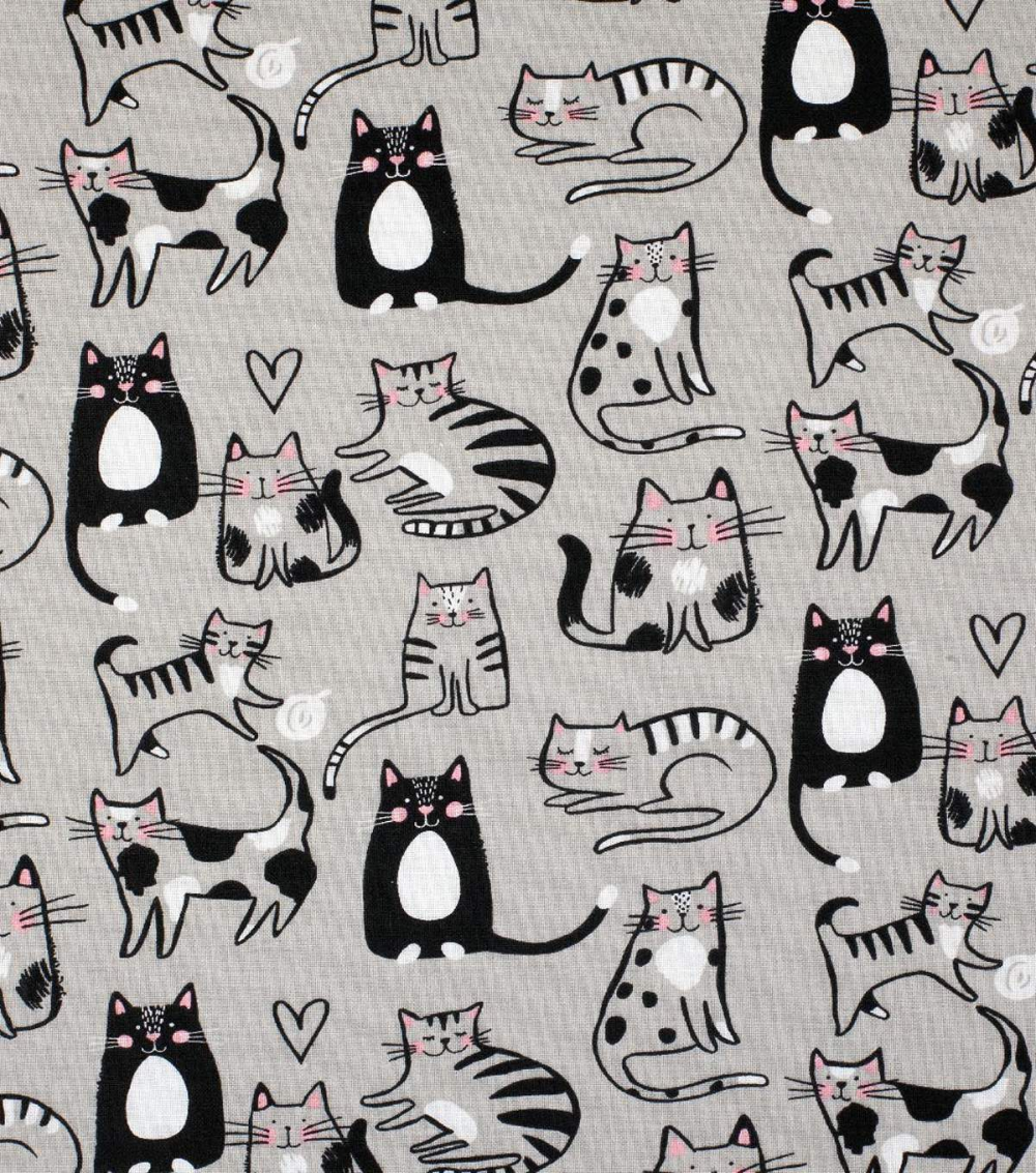 Novelty Cotton Fabric Gray Sketched Cats JOANN in 2020