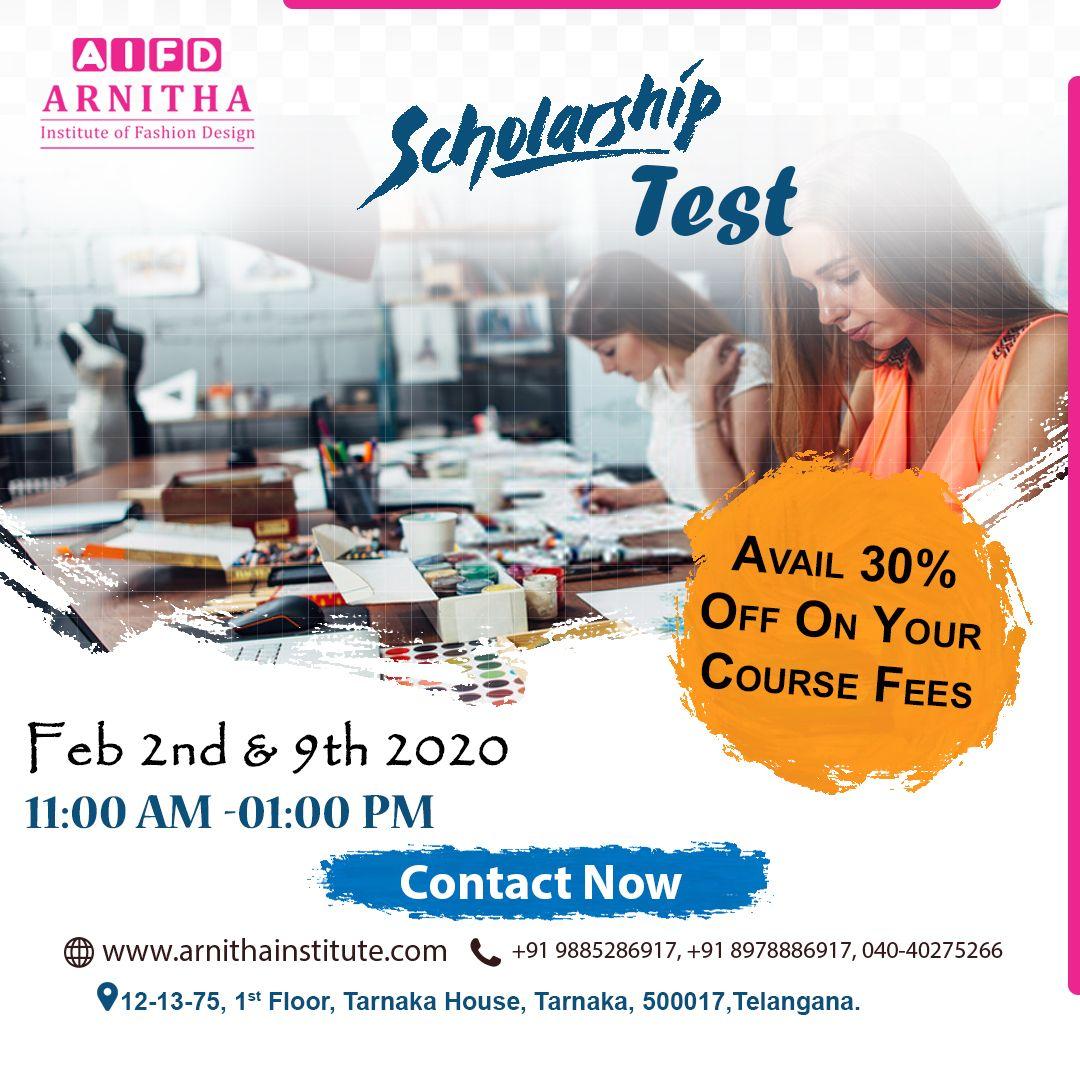 Scholarship Test Arnitha Institute Of Fashion Design In 2020 Fashion Design Scholarships Design