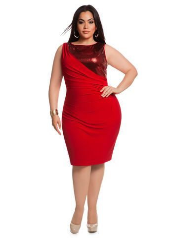 Ashley Stewart Red Sequin Dress Plus Size Uniquewomensfashion
