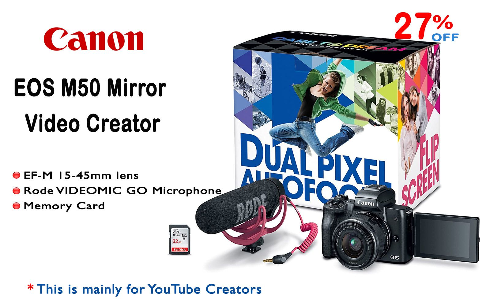 Canon Eos M50 Mirrorless Video Creator Kit For Youtube Creators Photography Basics Memory Cards Video