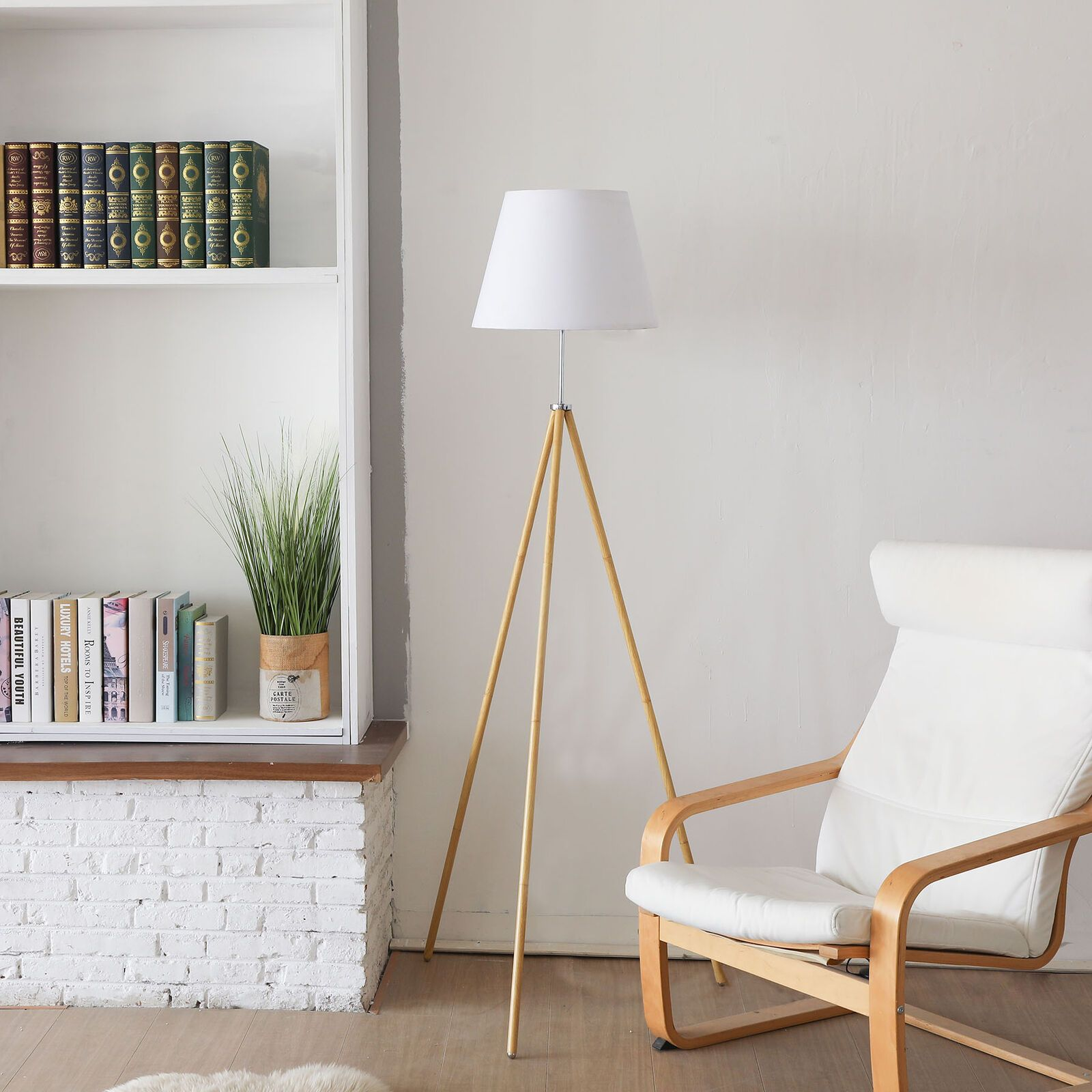 Easel Floor Lamp For Family Office Natural Wood Color With White