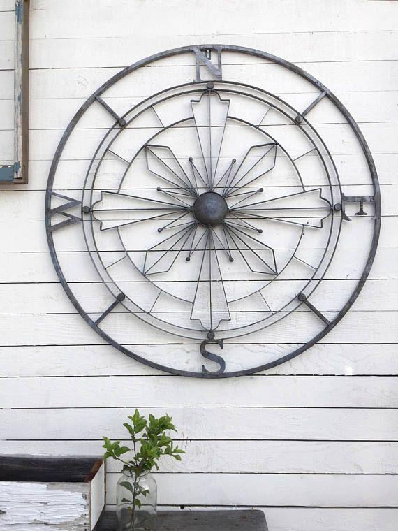 Galvanized Metal Wall Compass Nautical Wall Art Nautical Compass