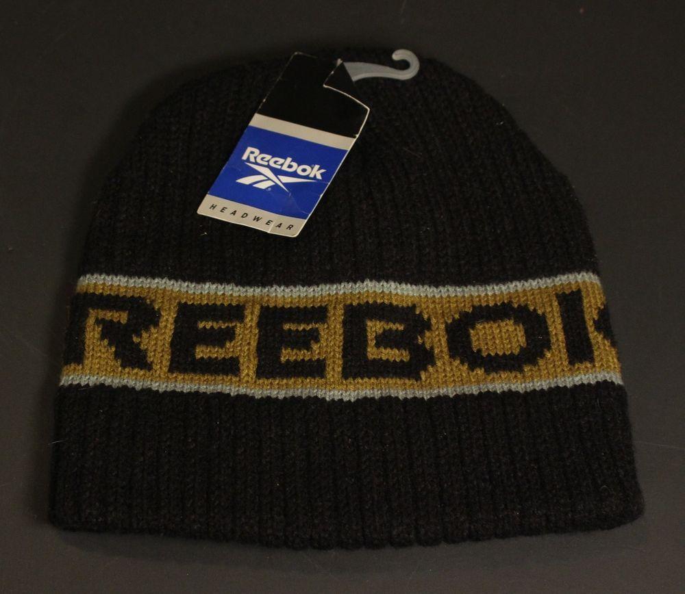 71160abc8 Vintage Reebok Beanie Winter Knit Cap Hat Toboggan Black Gold Gray ...